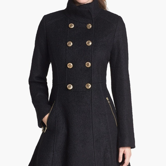 GUESS Women's Wool Boucle Fit and Flare Coat
